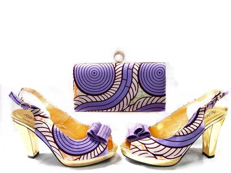 ФОТО Elegant High Heels Sandals Party Pumps For Women African Wedding Shoe And Bag Sets Italian Matching Shoe And Bag Set JA109