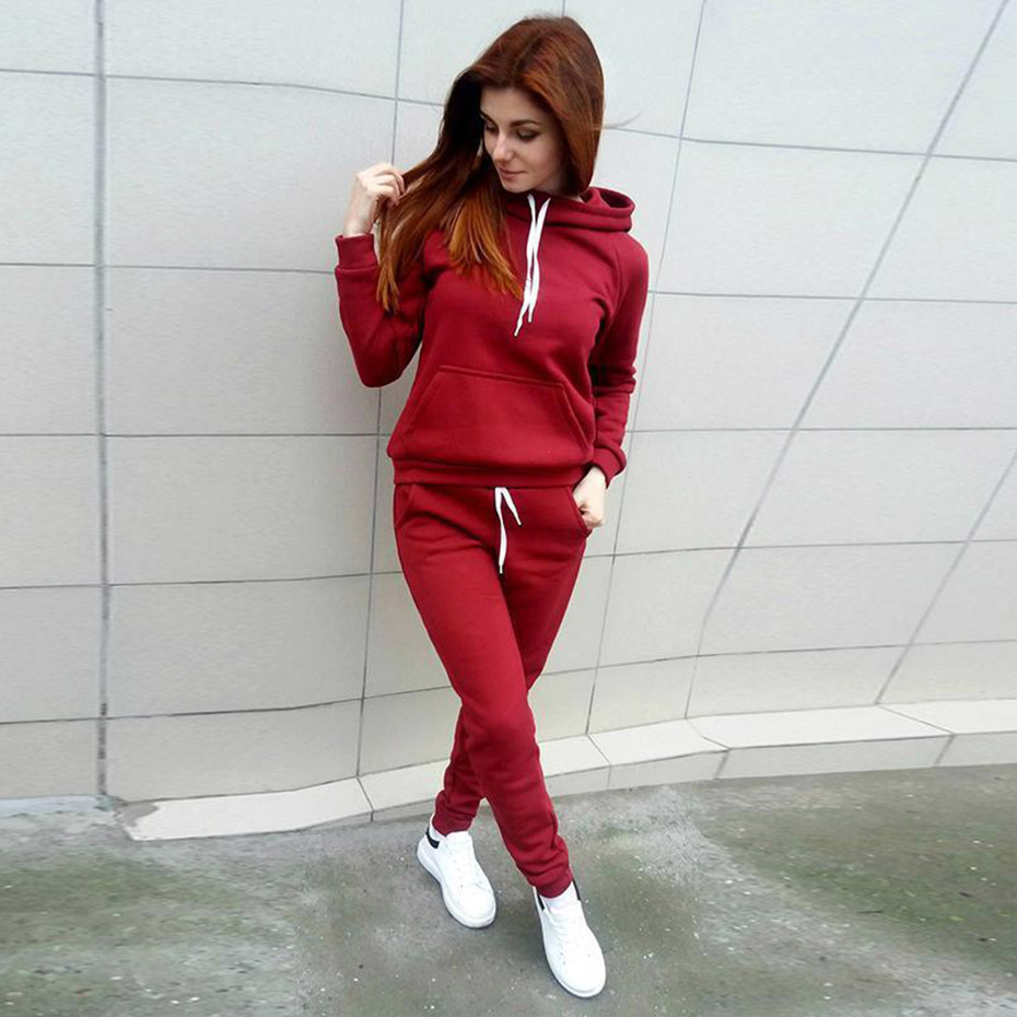 Zogaa Spring Autumn 2Pcs Women Ladies Tracksuit Crop Hoodies Long Sleeve Sweatshirt Pants Sets Casual Fitting Lounge Wear Suits