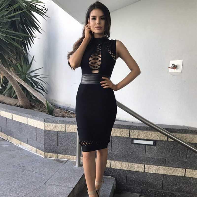 Cerf Lady 2017 noir moulante robe moulante Club femmes Sexy à lacets robe moulante HL rayonne robe en cuir col haut