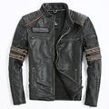 Embroidery Skull Motorcycle Clothing Men's Leather Jacket Genuine Leather Jacket