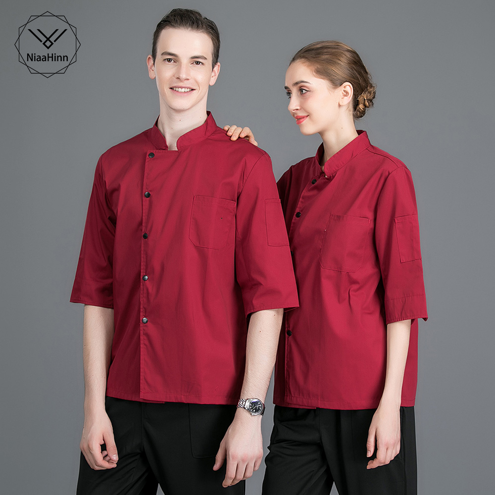 New Chef Men And Women Stand Collar Single Breasted Summer Breathable Short Sleeve Casual Restaurant Cook Wear Catering Uniforms