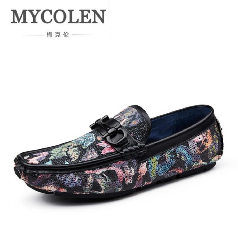 MYCOLEN Fashion Business Men Shoes Print Leather Flat Shoes Casual Slip On Men Loafers Hight Quality Personality Driving Flats zplover fashion men shoes casual spring autumn men driving shoes loafers leather boat shoes men breathable casual flats loafers