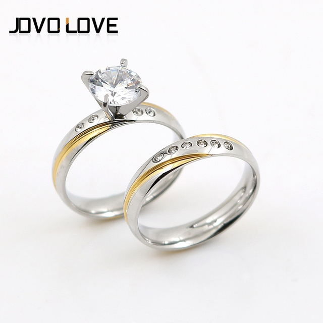 Jovo Anniversary Wedding Rings Sets For Silver Colors Round With Design Crystal