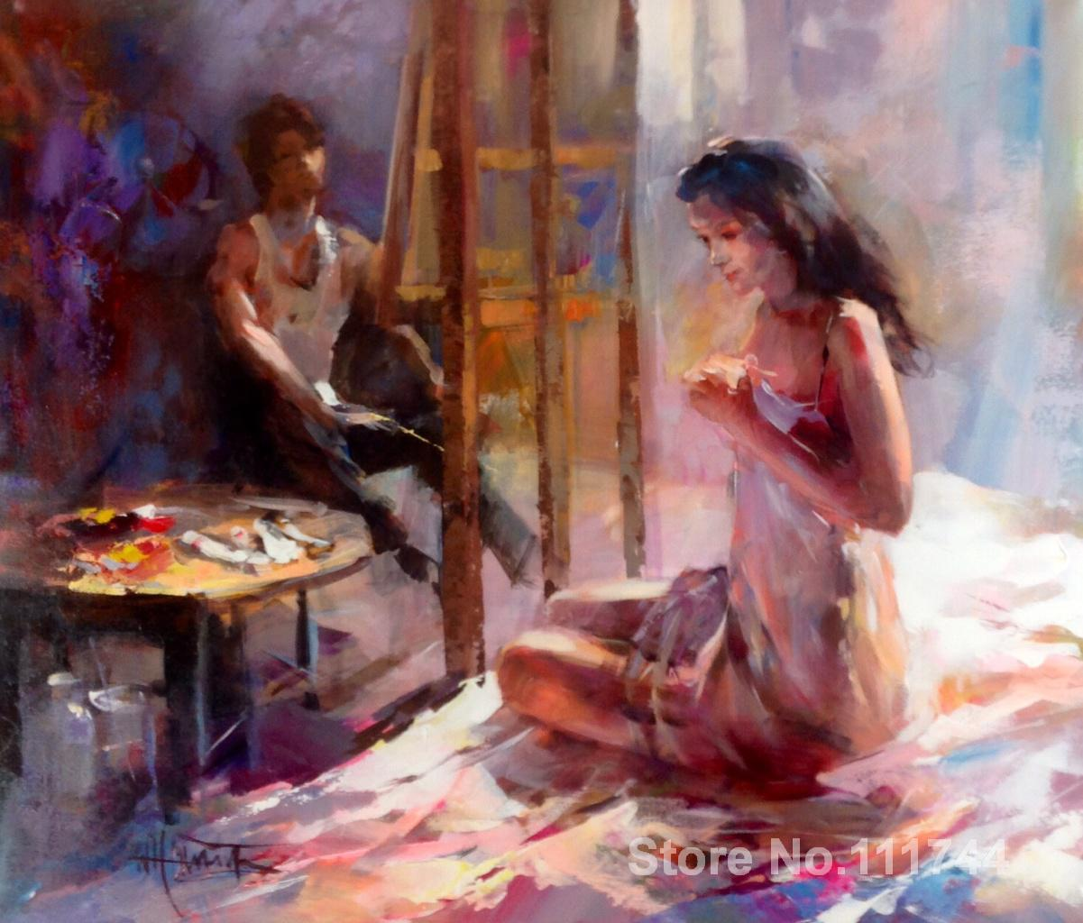 Art Oil Paintings Painter With His Model Willem Haenraets -5702