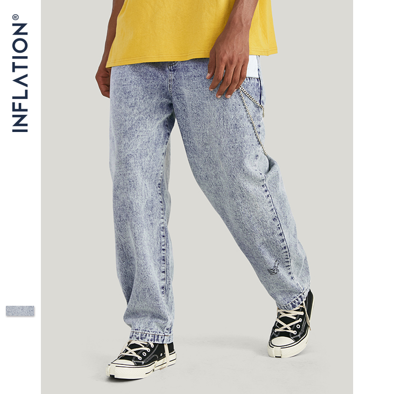 INFLATION 2019 AW Hip Hop Style Jeans Men Fashion Distressed Jean Blue Denim Pants Men Patchwork Pockets Trousers For Men 93346W