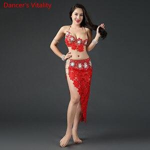 Image 3 - Kadın oryantal dans giyim oryantal dans elbise oryantal dans kıyafetleri sutyen + dantel kısa etek + uzun etek + külot 4 adet Set
