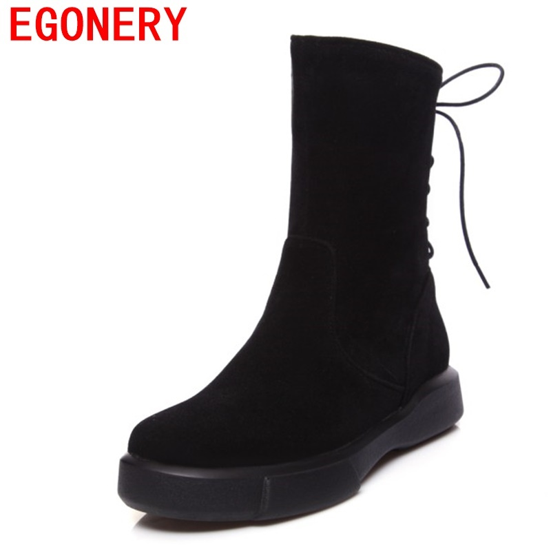 EGONERY woman mid calf boots 2017 round toe low heel winter shoes black apricot dark green 3 color light shoes for women 34-43CN trendy low heel and double buckle design women s mid calf boots