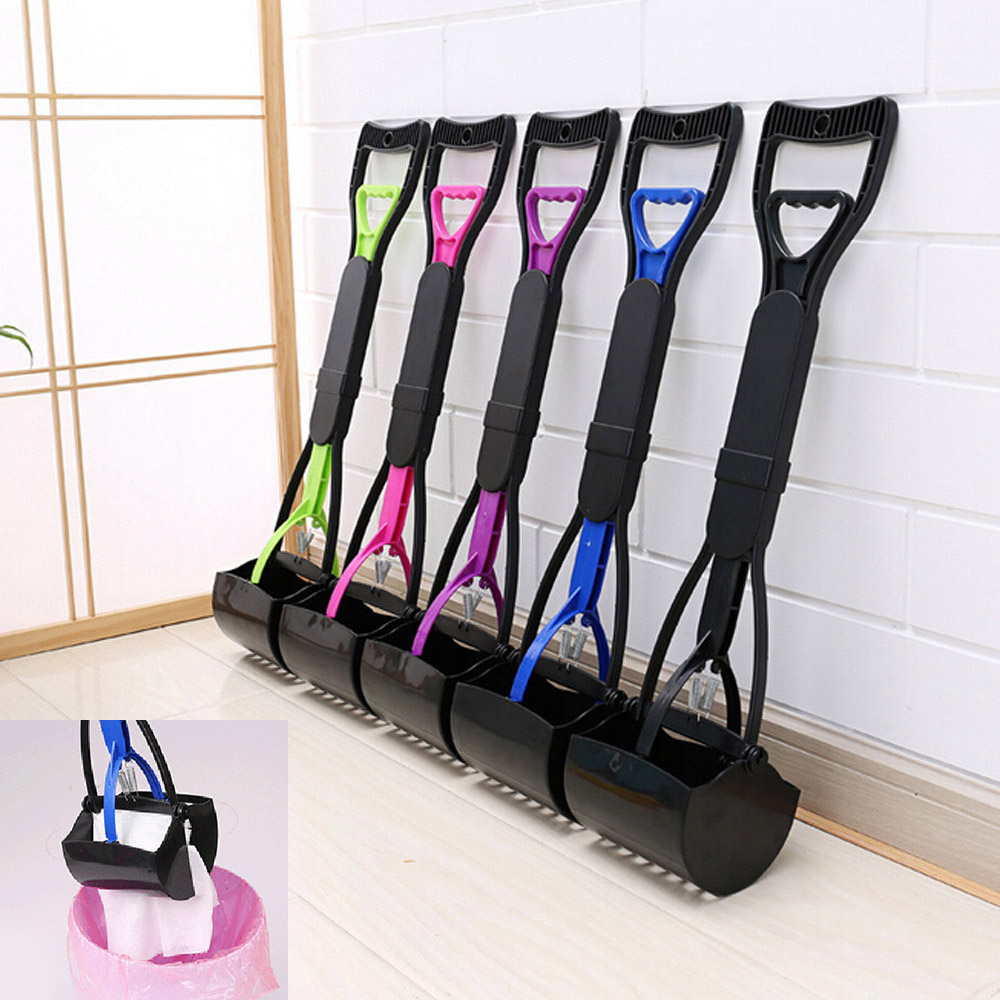 Pet Pooper Scooper Long Handle Jaw Poop Scoop Clean Pick Up Dogs Cats Waste Dog Puppy Cat Waste Picker Cleaning Tools