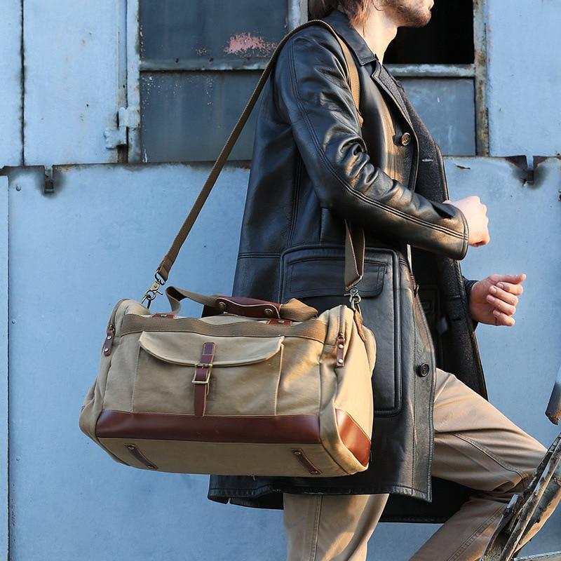 Voyage Grande Main De Cool Casual Homme Bagages Haut Capacité Gamme Noir Duffle Green Sacs À army Portable Sac kaki Classique Hommes coffee Toile XCq00