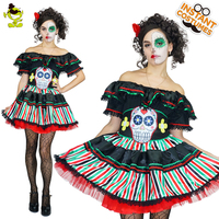 Women Colorful Skeleton Costumes Scary Skull Printed Halloween Party Cosplay Fancy Dress Adult Women Skeleton Sexy Dress Costume