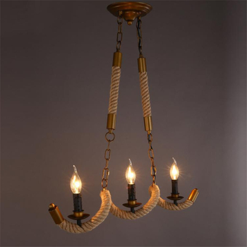 Loft Industrial E14 Candle Rope Dining Room Pendant Light Creative Punk Style Hanging Lights Retro Restaurant Bar Cafe Lamp