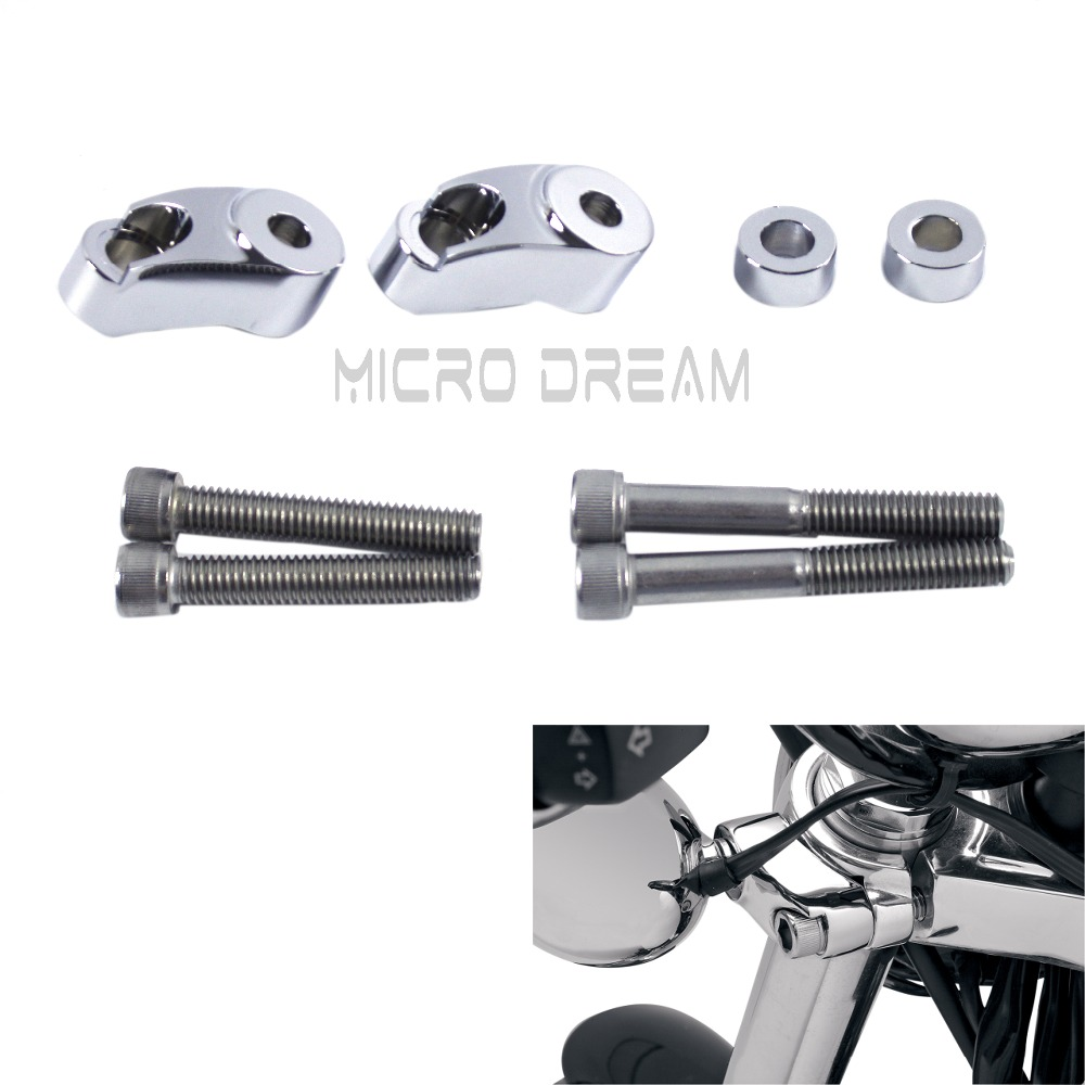Chrome Front Turn Signal Light Relocation Kit Motorcycle 39-49mm Indicators Mount Adapter For Harley Sportster Dyna Wide Glide