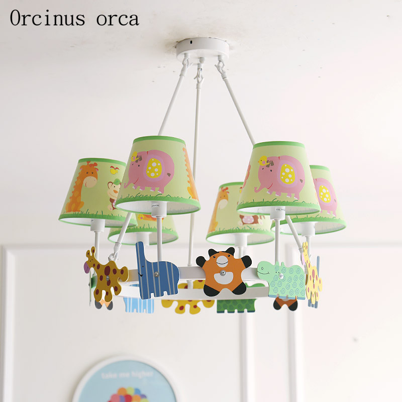 American cartoon creative animal chandelier children's room boys and girls bedroom simple doll LED chandelier free shipping|Pendant Lights| |  - title=