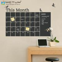 Free Shipping DIY Vinyl Chalkboard Wall Calendar 6 Cute Birds Blackboard Wall Stickers Wallpaper Poster Art