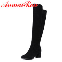 ANMAIRON New Shoes Woman Flock Winter Warm Snow Boots Short Plush Large Size 34-43 Zipper Knee-high Zip Wine red Black