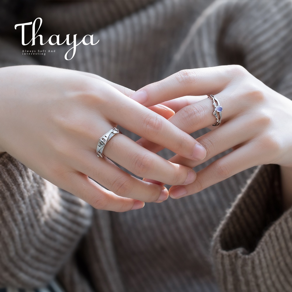 Thaya Pure Blue Gentle Moonstone Rings Lovers' Romantic Ring 100% S925 Silver Armour Bands For Girls Classic Elegant Jewellery
