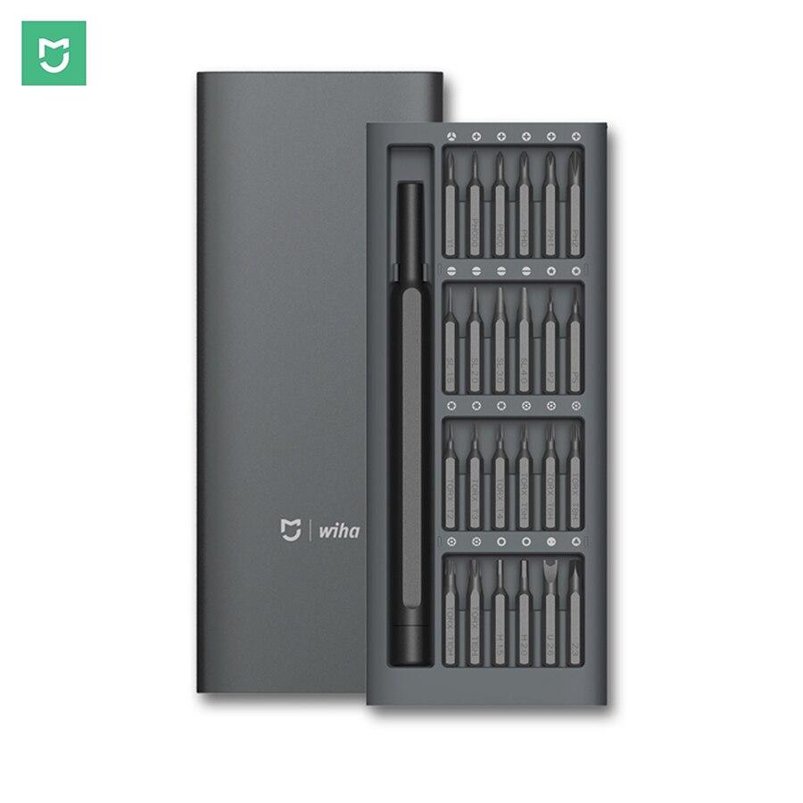 Xiaomi Mijia Wiha S2 Steel 60HRC  24 Bits Screwdriver Kit Precision Magnetic Bits Alluminum Box DIY Daily Use Screw Driver Set биты inox 7015sb t20x25 2 шт wiha 34491