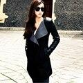 2016 Зима Теплая Женщины Дамы Большой Нагрудные Воротник Пальто Длинный Кожаный Рукав Куртки Куртка Тренч