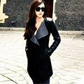 2016 Winter Warm Women Ladies Big Lapel Collar Coat Long Leather Sleeve Jacket Parka Trench