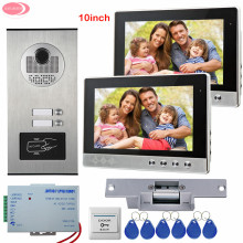 "10"" Video Door Phone For 2 Apartment Video Intercom For a Country House 2 Buttons RFID Access Door Camera+Electric Strike Lock"