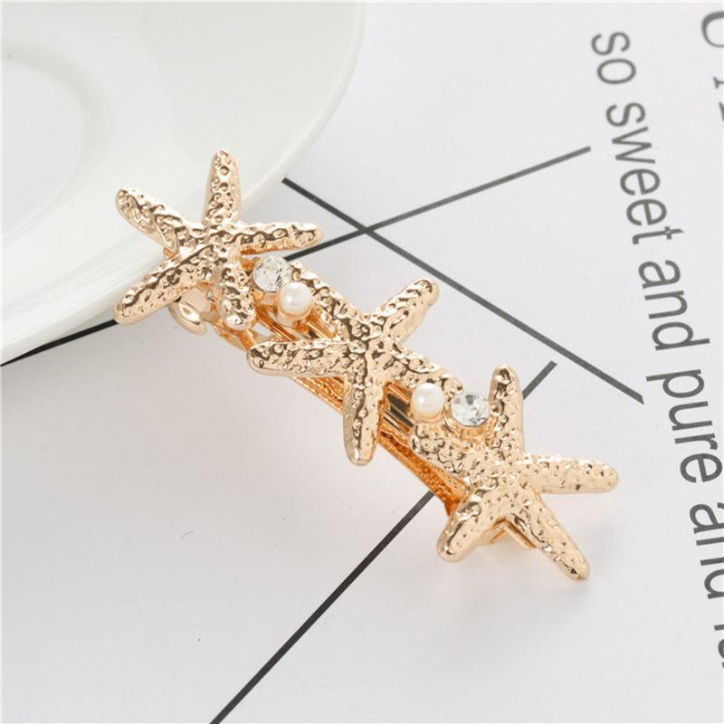Ocean Style Metallic Gold Starfish Seashell French Hair Clips Imitation Pearl Beaded Women Ponytail Clamp Spring Snap Barrettes in Women 39 s Hair Accessories from Apparel Accessories