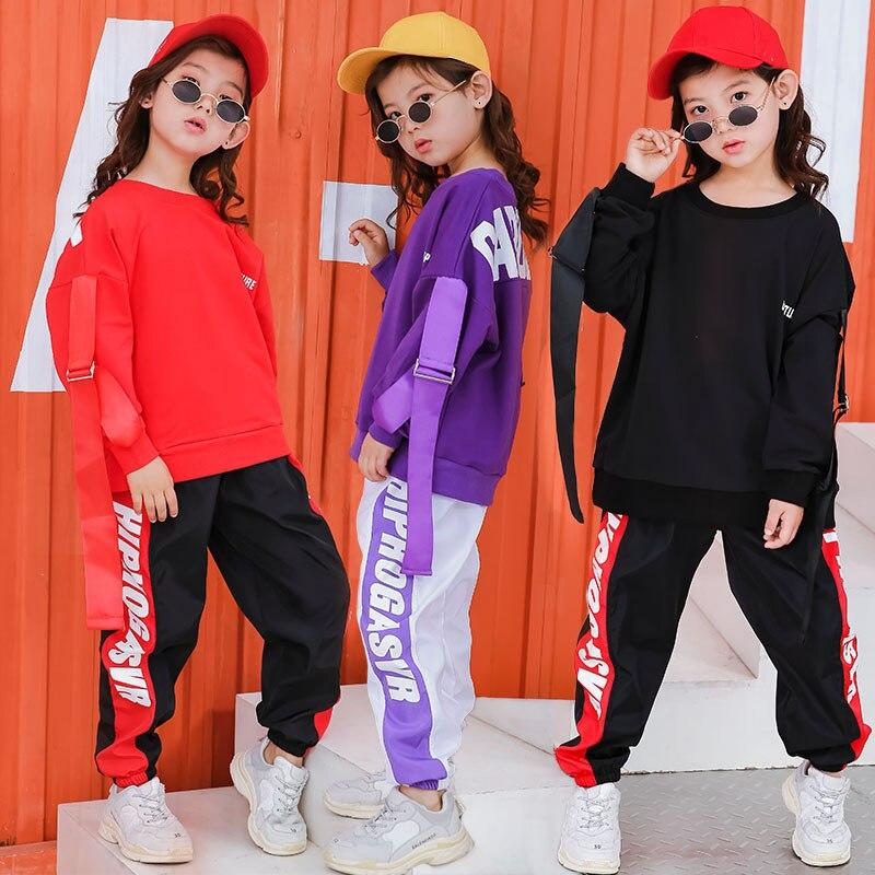 Kids Hip Hop Clothing Casual Tops Shirt Sweatshirt Dancing Jogger Pants For Girls Boys Jazz Dance Costume Ballroom Dance Clothes