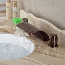Oil Rubbed Bronze Waterfall Spout Deck Mount Basin Sink Faucet Dual Handles Bathroom Hot Cold Mixer