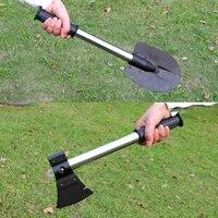 4 In 1 bıçak testere kürek Ax balıkçılık araçları taşınabilir katlanır Survival Spade acil mala bahçe kamp temizleme aksesuarları T4