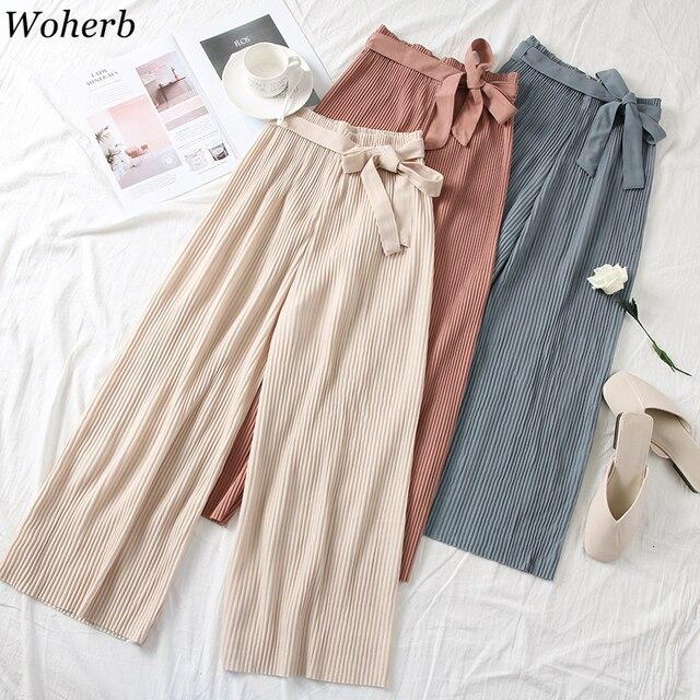 Woherb 2019 Korean Modis Casual Elastic High Waist Wide Leg Pants Ladies Now Bandage Casual Trousers Women Pantalones Mujer