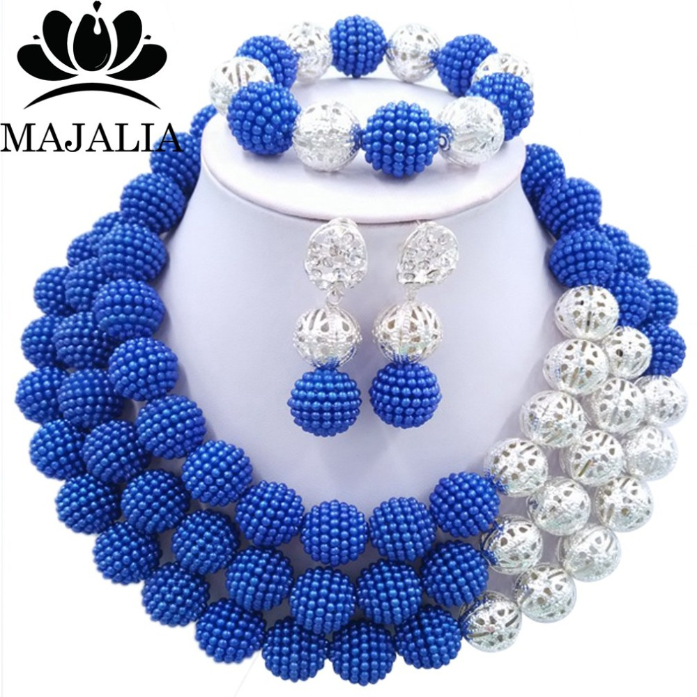 2017 Fashion nigerian wedding african beads jewelry Set blue beads necklace bracelet earrings jewelry set  P-15452017 Fashion nigerian wedding african beads jewelry Set blue beads necklace bracelet earrings jewelry set  P-1545