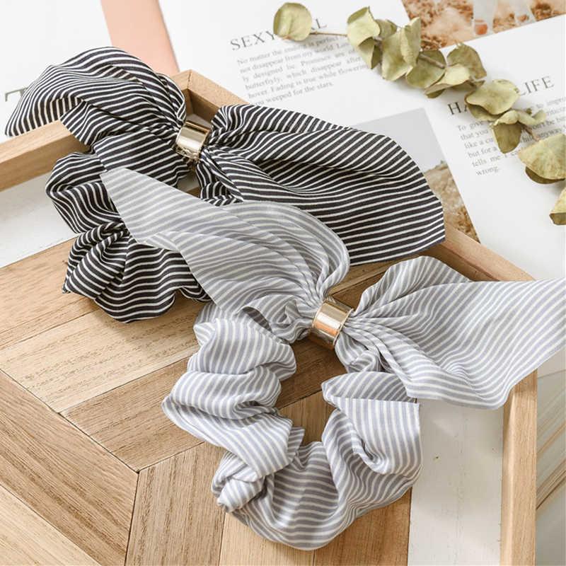 LNRRABC uszy królika metalowa klamra Hairline szyfonowa naszywka granatowy łuk koreański Fashion Lady akcesoria do włosów kucyk artefakt