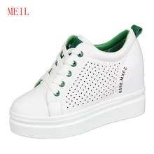 Woman Casual Chunky Platform Shoes Hollow White Sneakers Leather 2019 Spring Summer Wedges Breathable Top Fashion
