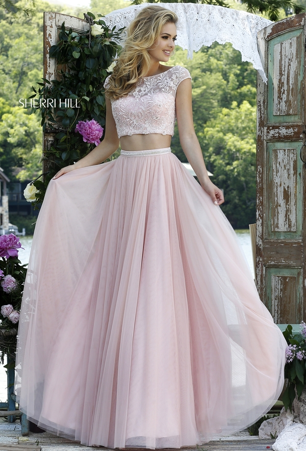 012b1a1fc80 2016 Princess 2 Two Piece Prom Dresses Pink Blue Illusion Lace Appliques  Beaded Floor Length Tulle Party Gown Robe De Soiree