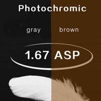 1.67 superficie asferica grigio/marrone fotocromatiche lenti di prescrizione miopia ipermetropia occhiali da sole lenti di protezione UV