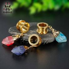 KUBOOZ Dangle Ear Plugs Piercing Tunnels Crystal Eardrop Body Jewelry Steel Screw Earring Gauges Expander Women Fashion Gift 2PC