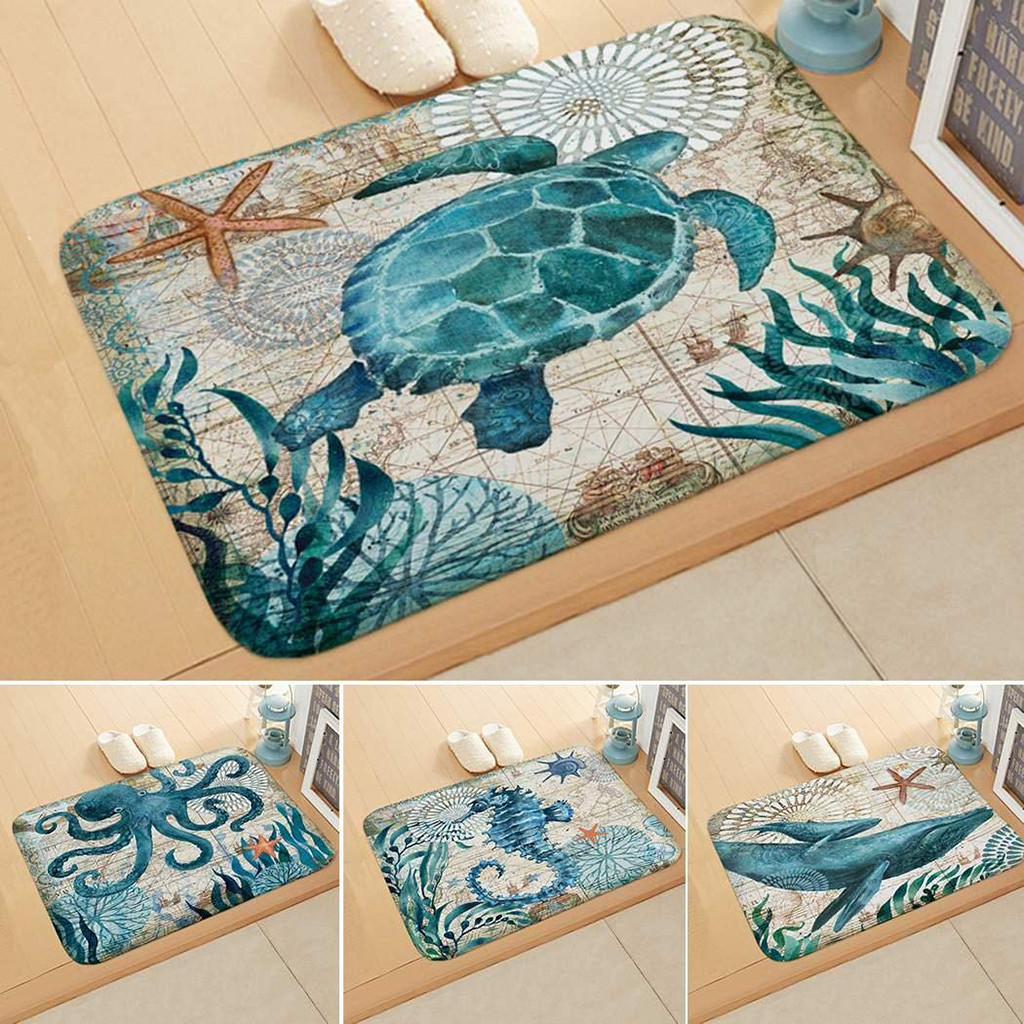 Creative Sea Style Non Slip Toilet Polyester Cover Mat Set Bathroom Shower Mat Shower Room Accessories Tapis Salle De Bain #5%