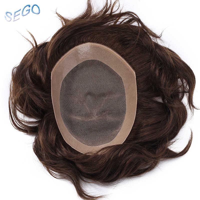 """SEGO 6 """"* 8"""" 6 дюймов прямые кружева с ПУ мужчины парик натуральный цвет не-Реми парик 100% человеческие волосы прочные шиньоны 120% плотность"""