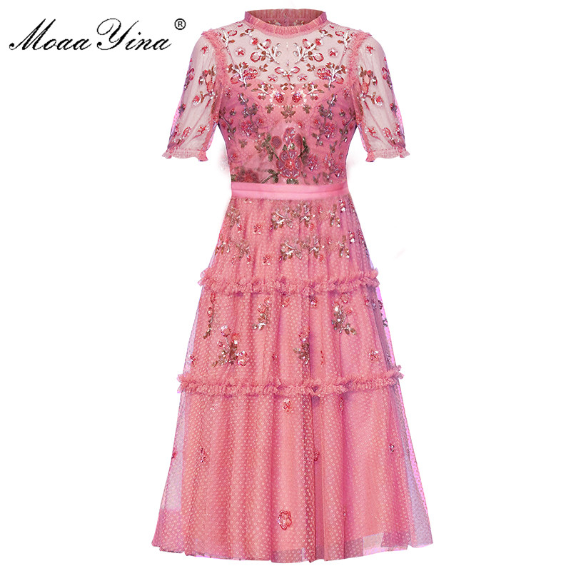 MoaaYina Pink Mesh Embroidery Floral Sequin Slim Elegant Dress Summer Women's Short Sleeve Ruched Sweet Female Clothes Dress