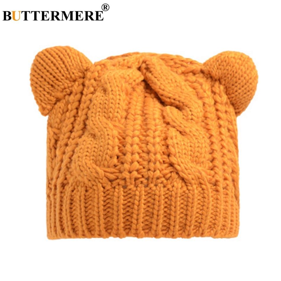 BUTTERMERE 니트 비니 모자 노란색 여성 겨울 봄 캐주얼 빈티지 Skullies 모자 귀 한국어 니트 귀여운 모자 여성