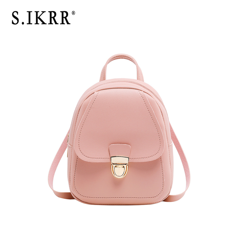 S.IKRR Women PU Small Backpack Waterproof New Brand Designer Shoulder Bag Female Daypack Travel Bags Solid Mini Casual Bags