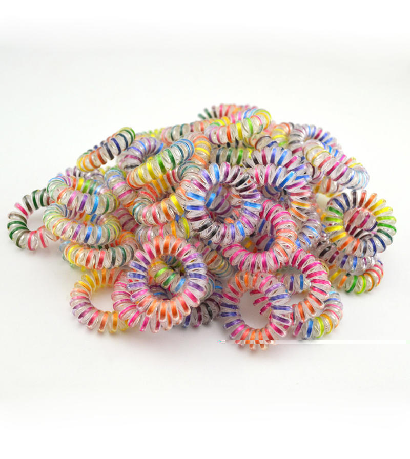 50pcs/lo Hair Accessories Telephone Cord Phone Plastic Headband Scrunchy Hair Band Hair Rope Headband 3.5cm Colorful