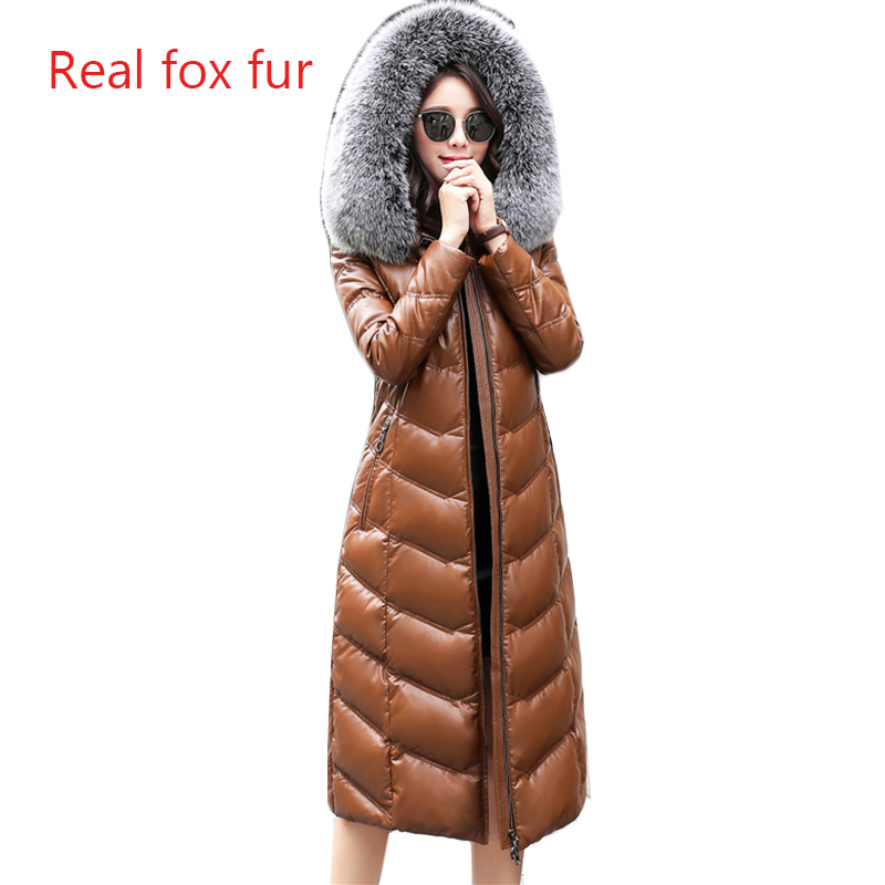 Winter Real Leather   Down     Coat   Women 2019 High quality Fox fur collar Hooded Tops Plus size Female Sheepskin Thicken   Down     Coats