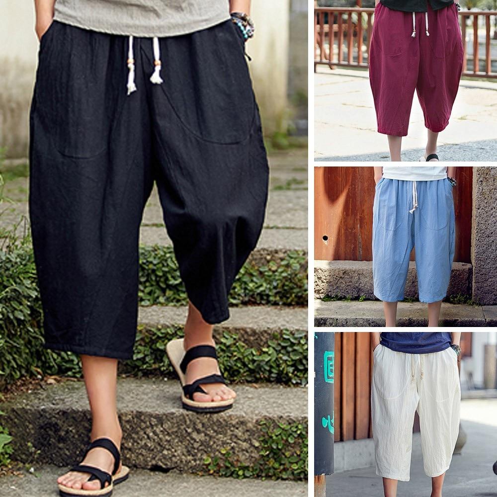 100% Wahr Männer Beiläufige Dünne Mittelschwer Elastische Taille Hosen Kalb-länge Leinen Hosen Baggy Harem Hosen Kalb-länge Hosen Mode