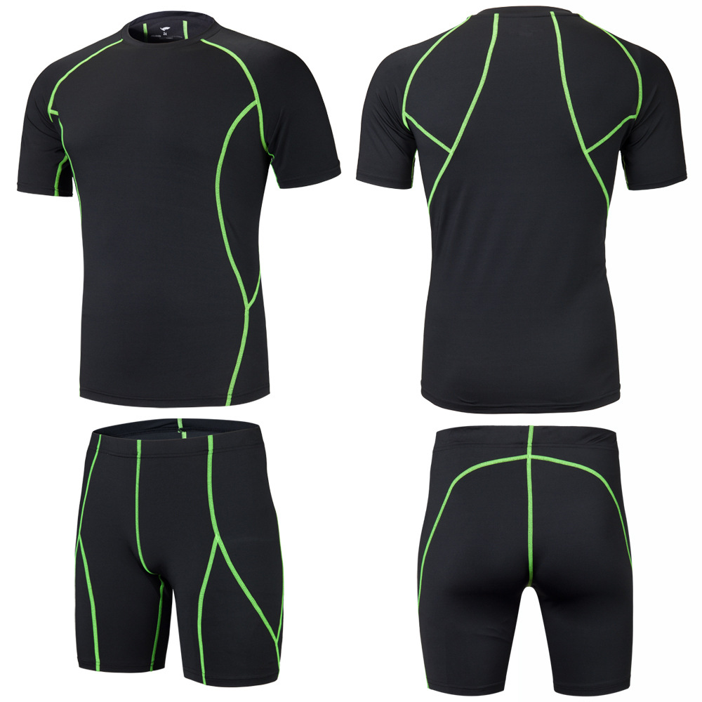 New Men Kids Running Sets Sport Kit Suits Clothes Shorts T Shirt Compression Tights Gym Fitness Shirts Cropped Shorts Quick Dry