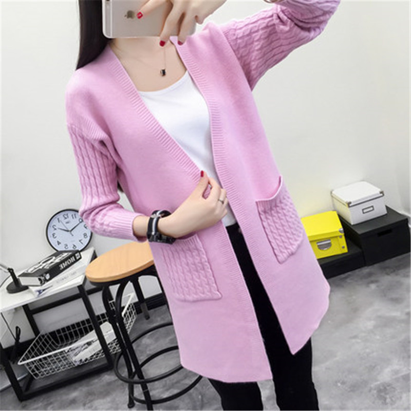 2018 Fashion Spring High Quality Whie Cashmere Women Cardigan Casual Poncho Pocket Coat Long Sleeve Female Knitted Sweaters