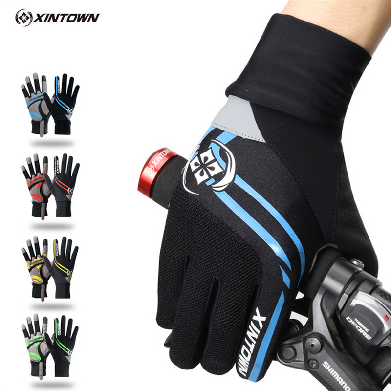 XINTOWN Bike Gloves Cycling Windproof Long Gloves Green Riding Cycling Winter Touch Screen Shockproof Full Finger Gloves