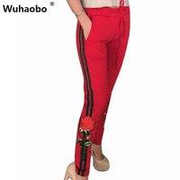 Wuhaobo新しいパターングリル長いズボン2017ファッションローズ刺繍パッチワークストライプポケット女