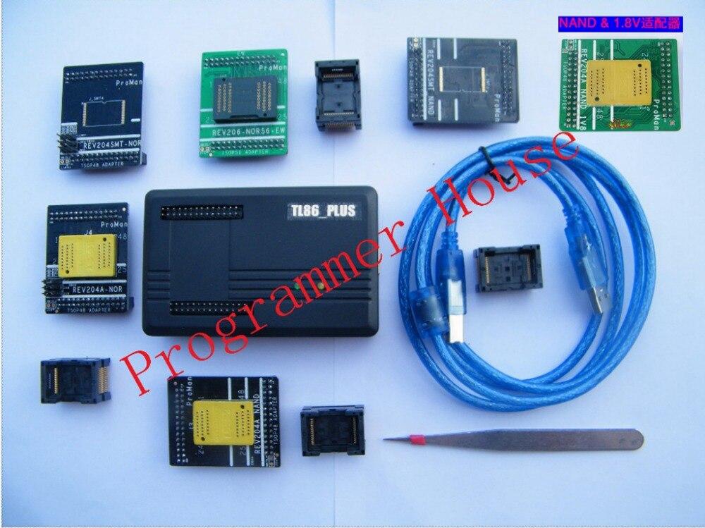 Proman tl86_Plus Profissional ferramenta de reparo do programador nand nor NAND FLASH de recuperação de dados de cópia + TSOP48 & 56 TSOP56 + V1.8adapter