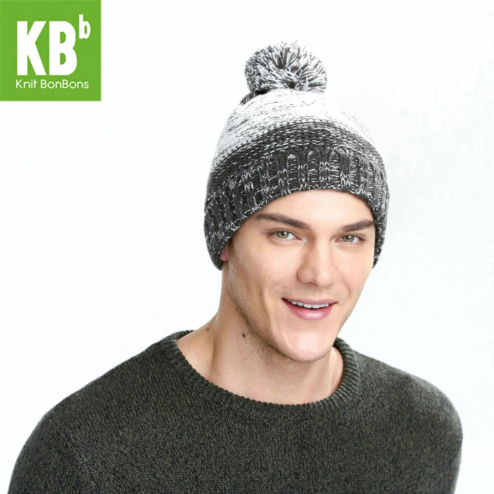SALE KBB Xmas Fall Winter Popular Gray And White Pom Pom Striped Men Women  Children Yarn Knit Pom Pom Winter Hat Beanie 17c59f80b34