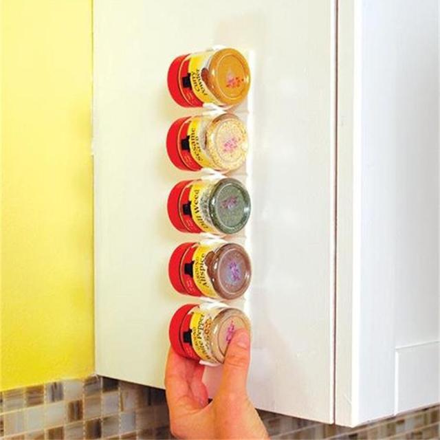 1/2/4 Pcs Wall Mount Ingredient Spice Bottle Rack Plastic Clip Organizer Rack Kitchen Cabinet Door Hooks Jars Spice Holder Tools